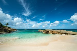 white sand beach in anguilla island on caribbean aycht charter