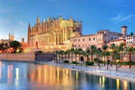 Palma de Mallorca Cathedral at night on Balearic Yacht charter