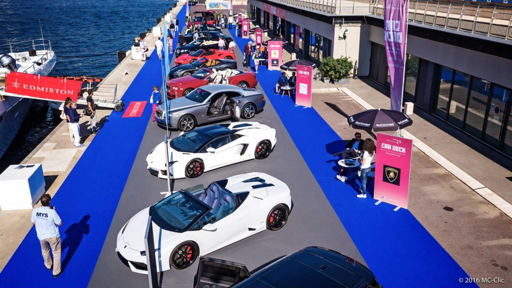 Luxury supercars lined up at Monaco Yacht Show's Car Deck